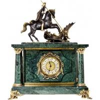Часы-сейф «Москва» из зеленого мрамора с бронзовой скульптурой Георгия Победоносца