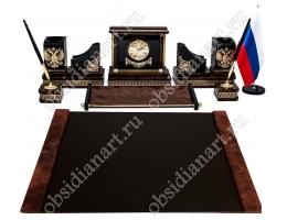 Набор на стол руководителя «Верона» из полудрагоценного камня обсидиан