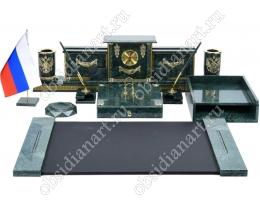 Письменный набор на стол руководителя «Зеленый кабинет» с кожаным бюваром