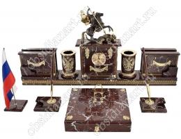 Письменный набор руководителя «Красная Москва» из яшмы с бронзовым Георгием Победоносцем