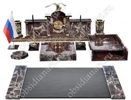 Набор канцелярских предметов на стол руководителя «Гербовый» из яшмы