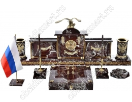 Каминный набор на стол директора «Свобода» из натуральной яшмы