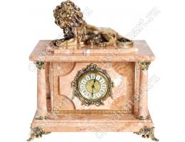 Премиальные часы из натурального мрамора с секретным сейфом и бронзовым львом