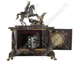 Настольные часы в подарок с секретным сейфом и бронзовым Георгием Победоносцем