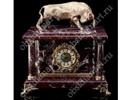 Шикарные часы из натуральной яшмы с секретным сейфом и большим бронзовым быком