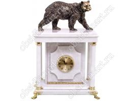 Настольные часы с сейфом и бронзовым медведем «Косолапый», белый мрамор