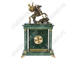 Подарочные сейф-часы «Победоносец» из мрамора с бронзовым Георгием Победоносцем