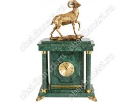 Настольный сейф с часами «Козел» из натурального мрамора с бронзовым козлом