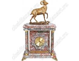 Премиальные часы из мрамора «Козерог» с сейфом и бронзовой скульптурой козла