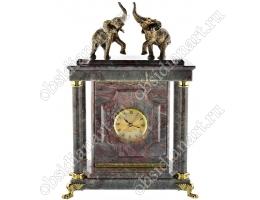 Каминные часы-сейф из мрамора «Слоны» с бронзовыми фигурками слонов