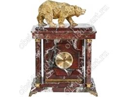 Малые настольные часы-сейф «Медведь» из яшмы с бронзовым медведем
