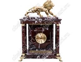 Настольные часы из яшмы «Правитель» с тайным сейфом и бронзовым львом