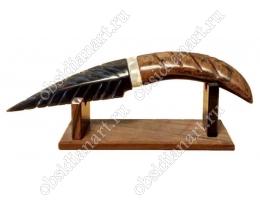 Нож «Ацтекский» из обсидиана (вулканическое стекло)