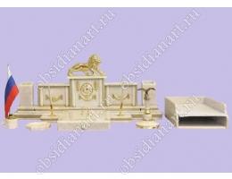 Письменный набор из белого мрамора «Кремлевский» с бронзовой фигуркой льва