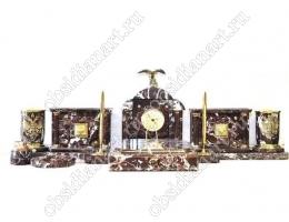 Письменные наборы из яшмы «Гранада» с фигуркой орла из бронзы