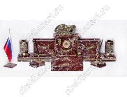Настольный набор из яшмы «Тигрица» с бронзовой фигуркой
