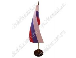 Флаг России настольный на подставке из камня «Круглый» маленький