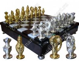 Шахматы «Королевские» с серебряными фигурами