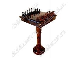 Шахматы на ножке «Уникальные» из обсидиана