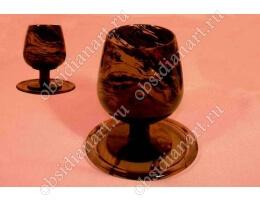 Бокал «Вино» из полудрагоценного камня обсидиан