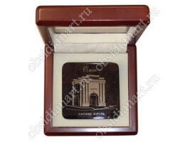 Сувенирная медаль-1 из полудрагоценного камня обсидиан