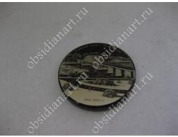 Сувенирная медаль из полудрагоценного камня обсидиан