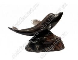 Сувенир «Дельфин» из полудрагоценного камня обсидиан