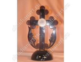 Крест из натурального камня обсидиана