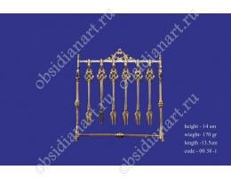 Набор из 12 серебряных вилок для фруктов, позолота, арт.fj-0038-1