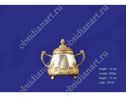 Сахарница серебряная с позолотой, арт.fj-0044