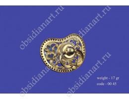 Пустышка - соска с щитком из серебра, позолота, арт.fj-0045. Подарок новорожденному