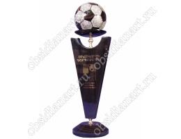 Кубок футбольный на заказ из полудрагоценного камня обсидиан