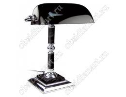 Настольная лампа (светильник) из черного мрамора с серебристой отделкой, арт. 1231489
