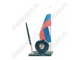 Настольный флаг России с гербом на подставке и ручкой из камня (КА)