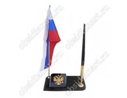 Флаг России с гербом и ручкой, натуральный камень обсидиан