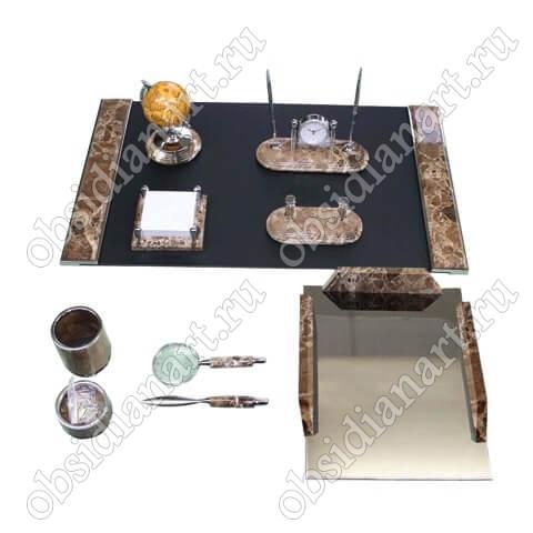 Набор настольный из испанского мрамора с серебристой отделкой, 1231486