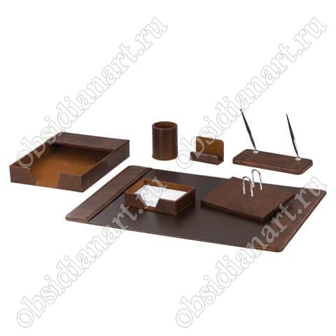 Набор настольный из экокожи (под гладкую кожу), темно-коричневый, 1232280