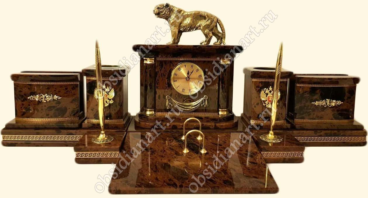Презентабельный письменный набор «Фока» из обсидиана с фигуркой тигра