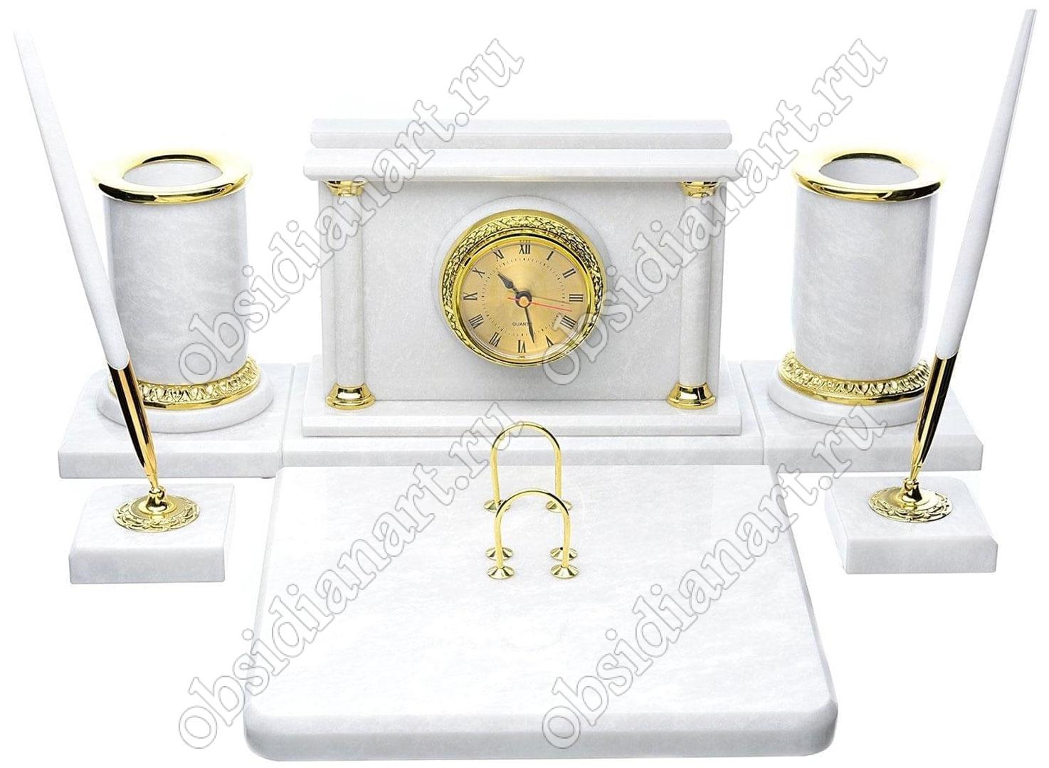 Настольный набор для руководителя «Стильный» из белого натурального мрамора