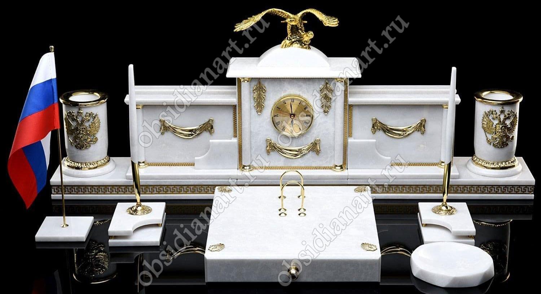 Письменный набор на стол руководителя «Шеф». Белый мрамор