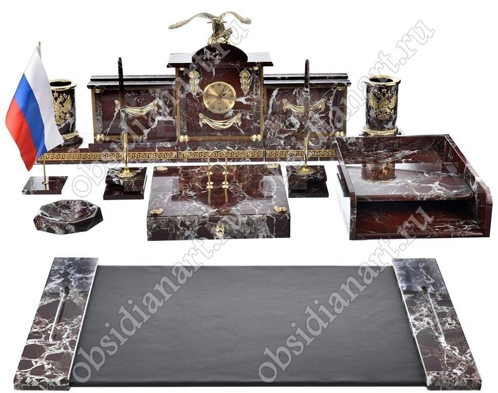 Набор канцелярский предметов на стол руководителя «Гербовый» из яшмы