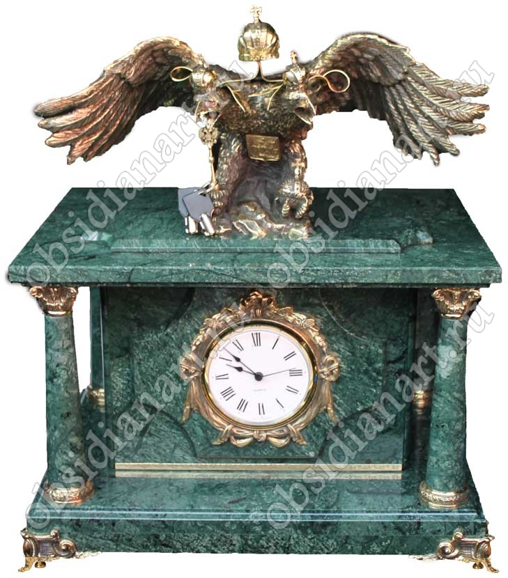 Часы с сейфом «Гербовый орел» из натурального мрамора с бронзовой скульптурой двуглавого орла
