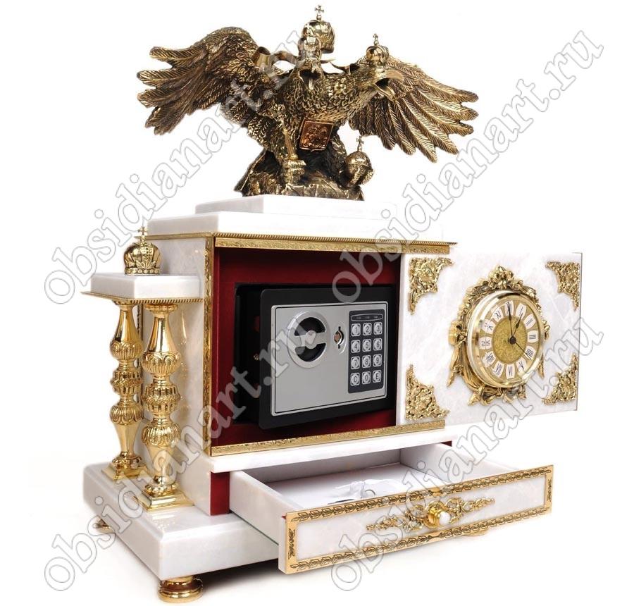 Часы-сейф «Царский» из мрамора со шкатулкой и бронзовым двуглавым орлом