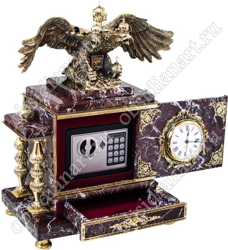 Часы сейф «Русь-1» из яшмы со шкатулкой и бронзовым двуглавым орлом