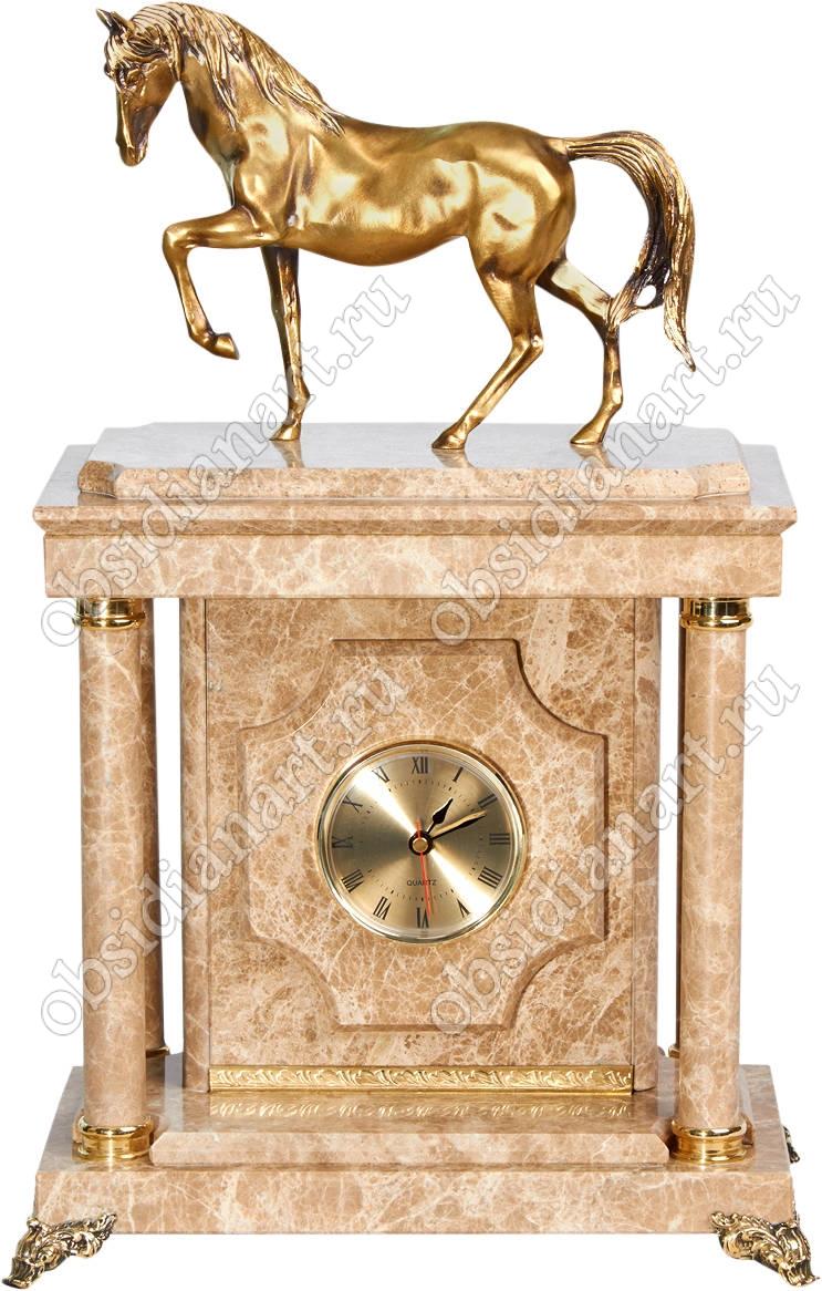 Малые часы-сейф «Конь» из мрамора с бронзовым конем