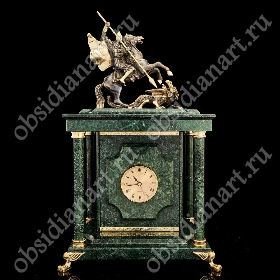 Каминные часы «Всадник на белом коне» с сейфом и бронзовым Георгием Победоносцем