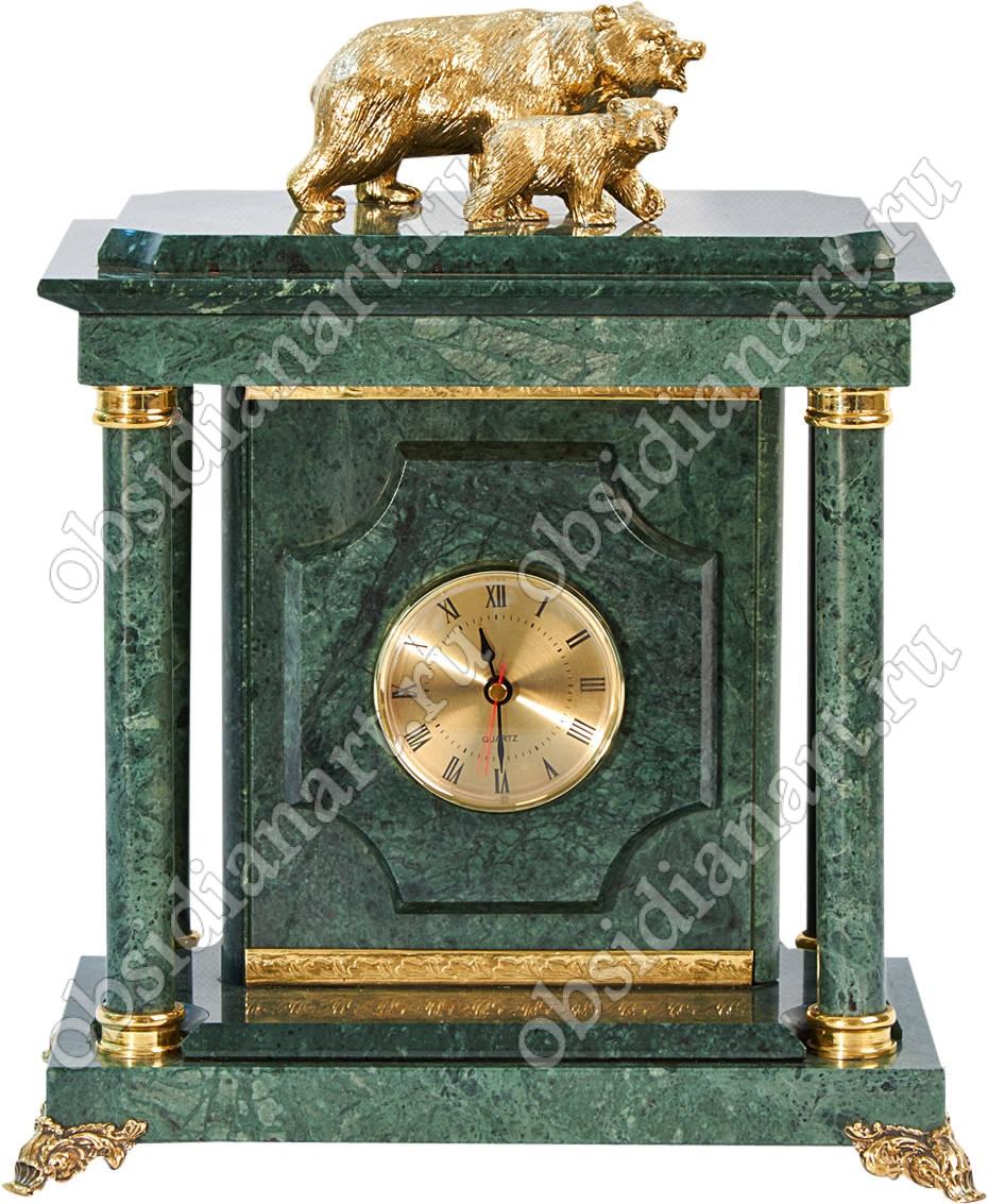 Настольные часы-сейф из мрамора «Медведи» с бронзовыми фигурками медведей