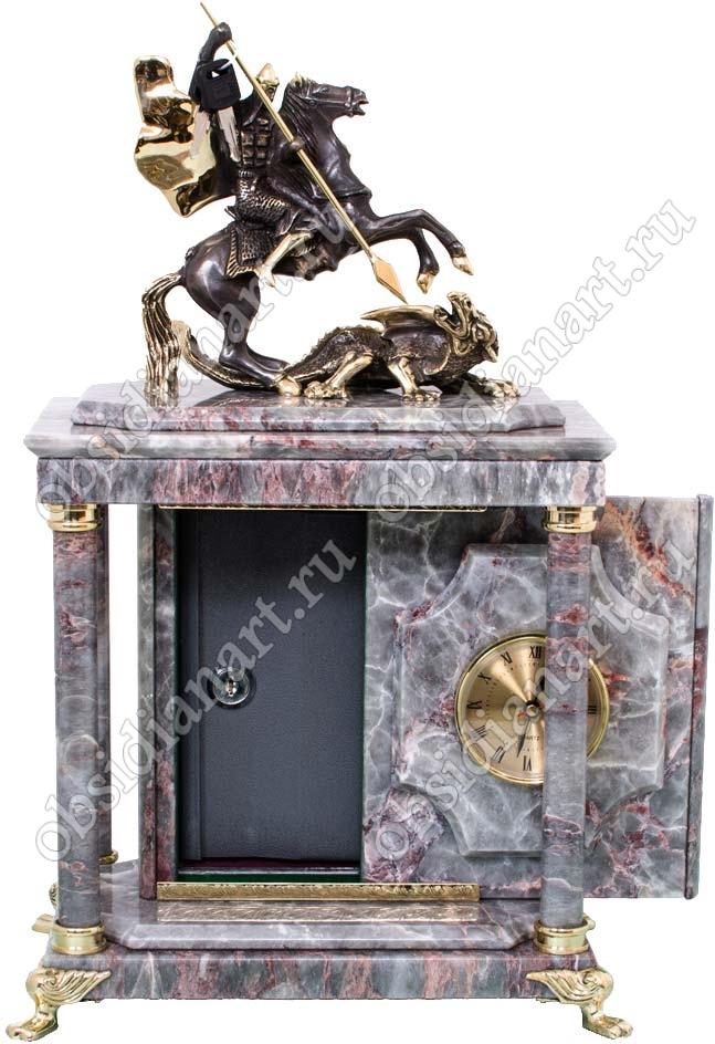 Подарочный сейф с часами из мрамора «Чудо Георгия о Змие» с бронзовой скульптурой Георгия Победоносца
