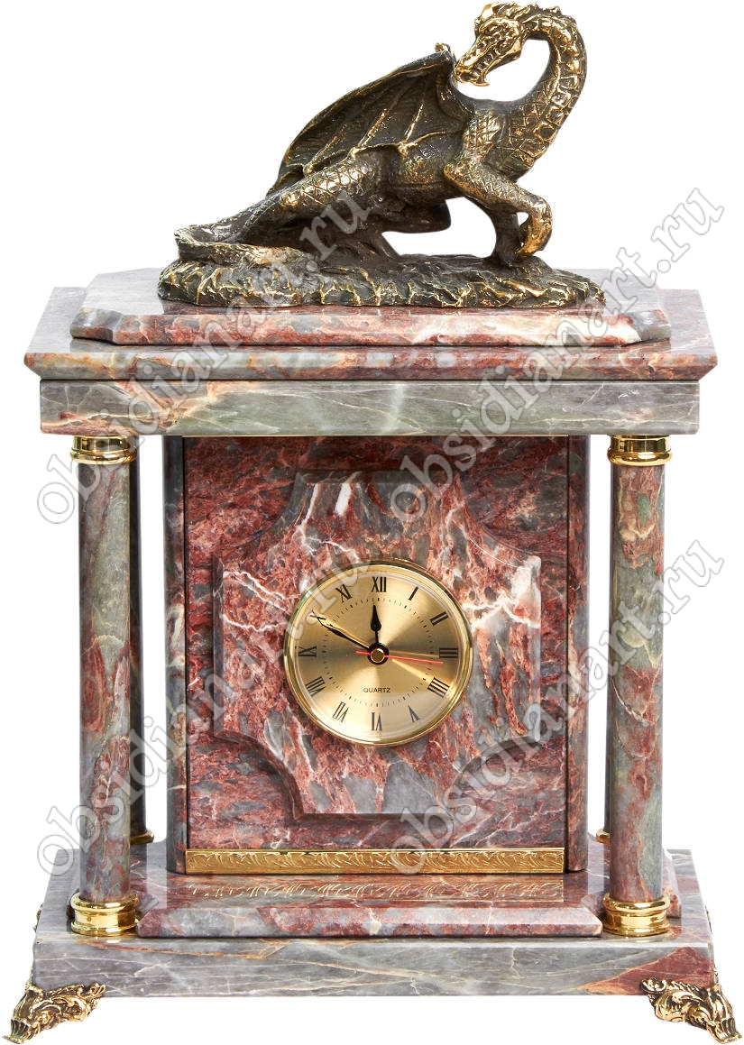 Настольные малые часы-сейф «Дракон» из мрамора с бронзовым драконом