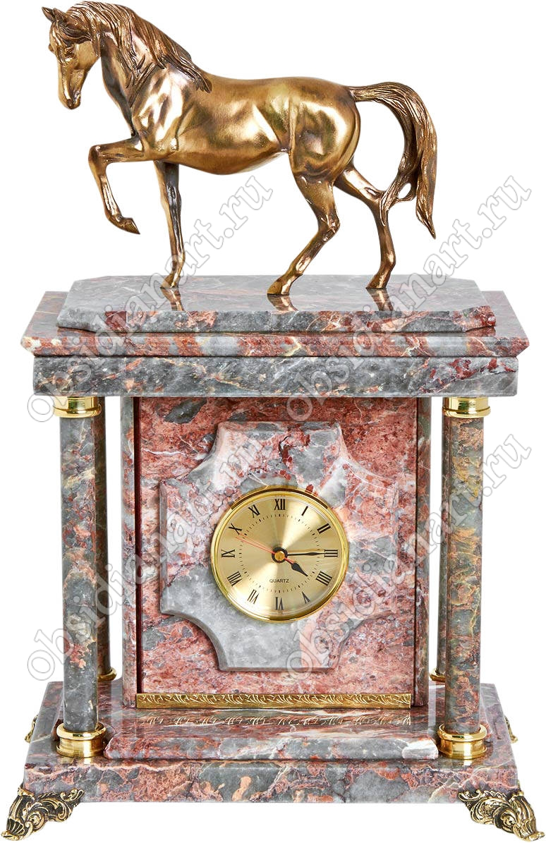 Подарок женщине руководителю - часы из мрамора «Скакун» с сейфом и бронзовым конем